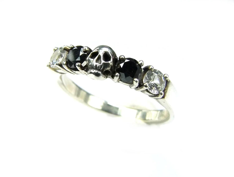 black diamond band black wedding ring sets Skull Wedding Ring Black Diamond Sterling Engagement Ring Goth Psychobilly Wedding Band Wedding Set Jewel Ring All Sizes