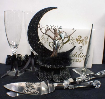 Nightmare before Christmas Wedding Cake topper Lot Glasses