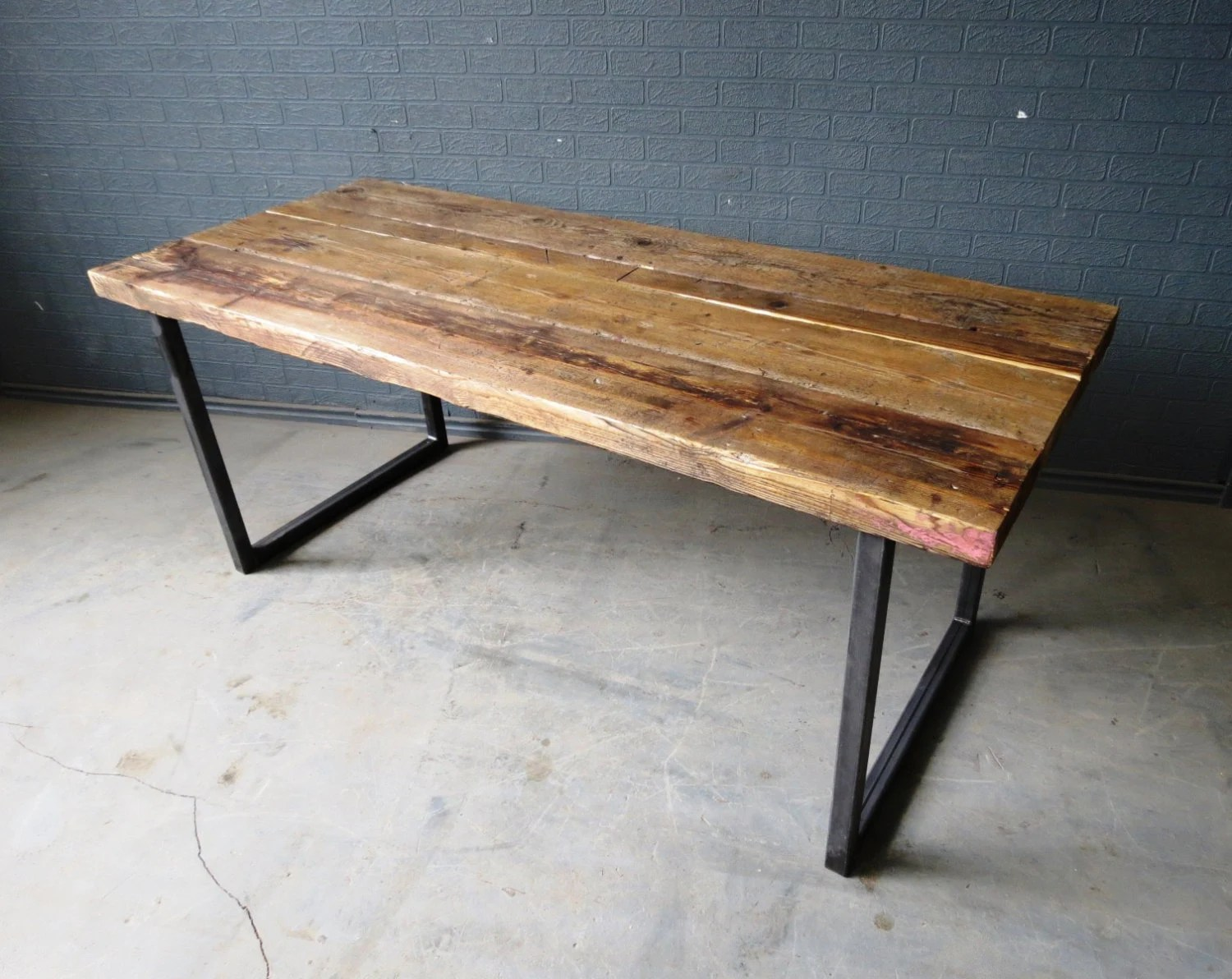 industrial industrial kitchen table Reclaimed Industrial Chic 6 8 Seater Solid Wood and Metal Dining Table Bar Cafe Bar Restaurant Furniture Steel and Wood Made to Measure