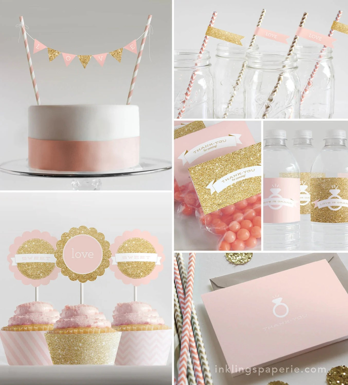 bridal shower decorations printable pink wedding shower decorations zoom