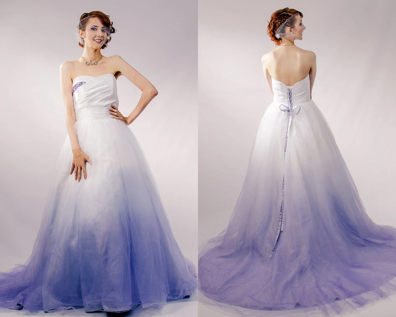 ombre wedding dress ombre wedding dress Dip Dyed Wedding Dress Purple Ombre Wedding Dress Couture Wedding Gown Colored Wedding Dress