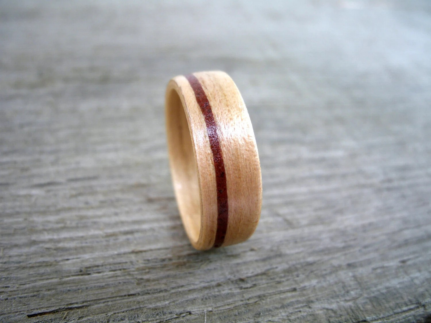 firefighter ring mens firefighter wedding bands Wooden Ring Firefighter Wedding Brick inlaid Hickory Wood Inlay Wedding Ring Engagement Ring