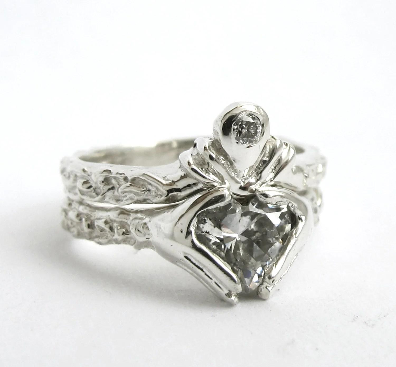 claddagh ring wedding set white gold and walmart wedding ring sets zoom