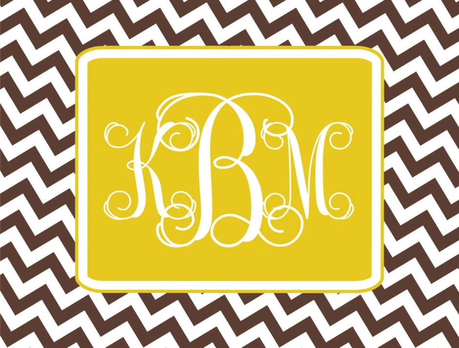Custom chevron monogram n...