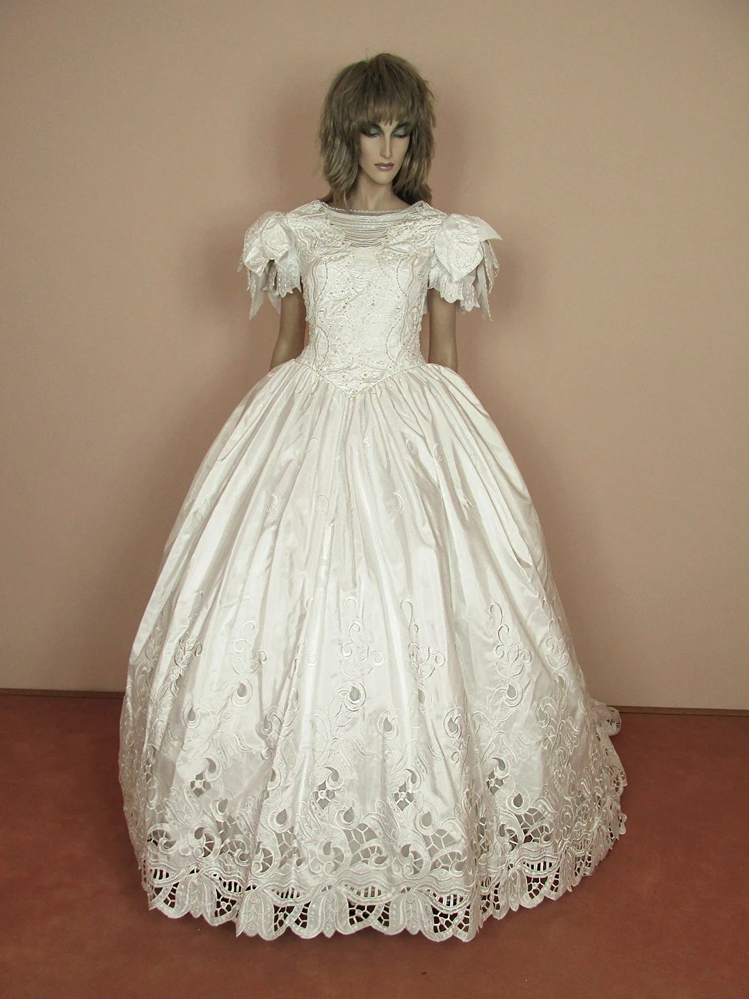 romantic white wedding dress 80s cinderella wedding dress costume zoom
