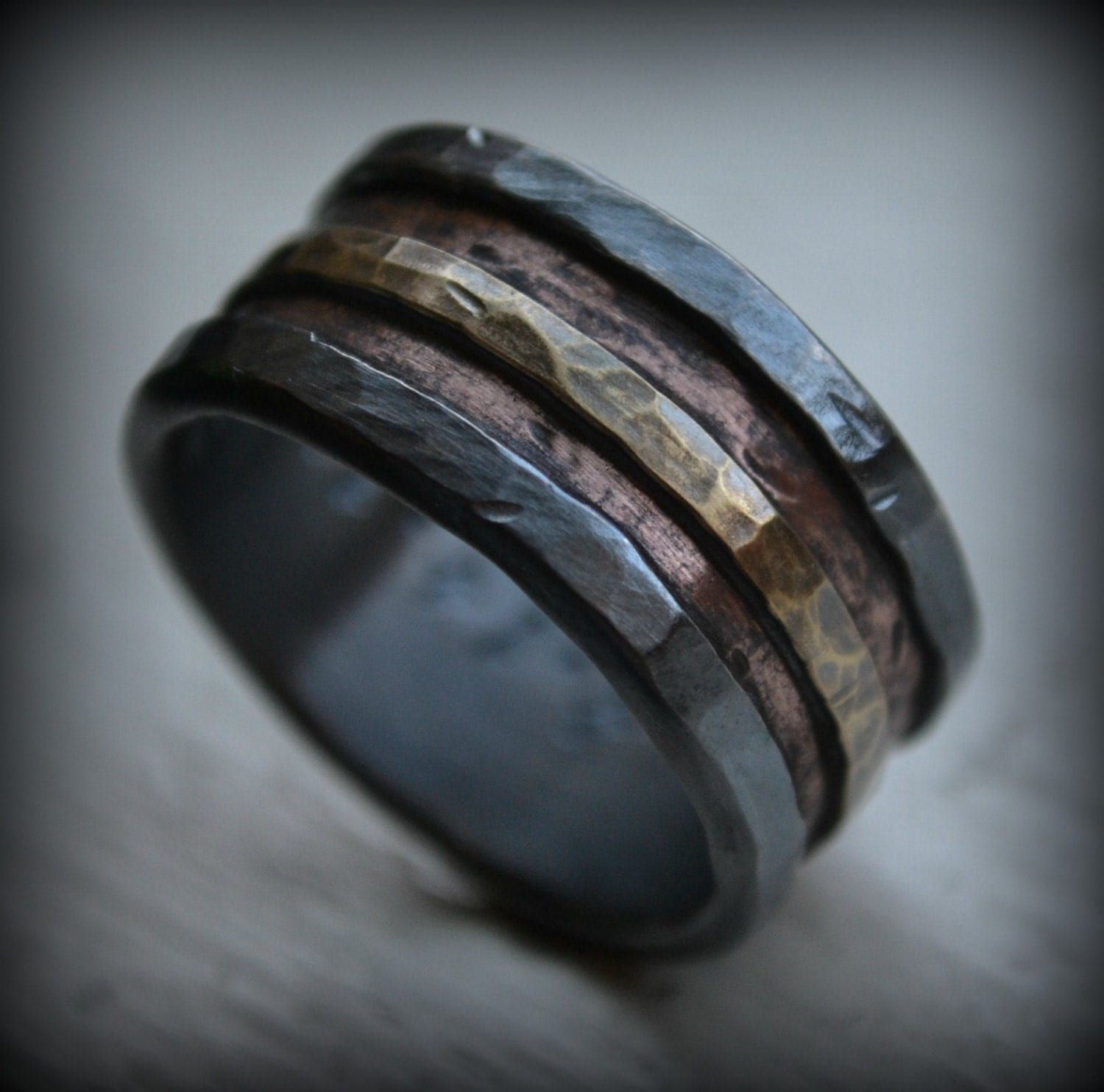 mens wedding band rustic fine silver wide wedding bands zoom