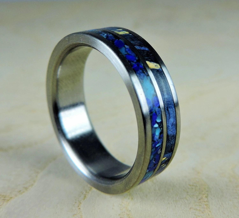 titanium wedding ring blue wood and turquoise wedding bands zoom
