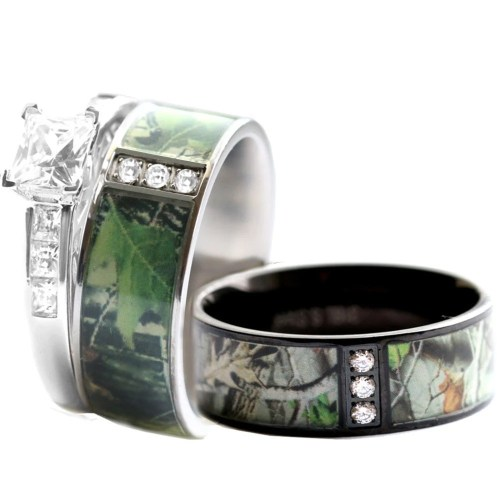 camo ring camo wedding band sets Camo Wedding Ring Set for Him and Her Stainless Steel Silver Black IP Rhodium Plating