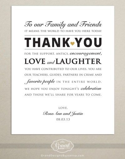 DIGITAL FILE Personalized Wedding Reception Thank You Card