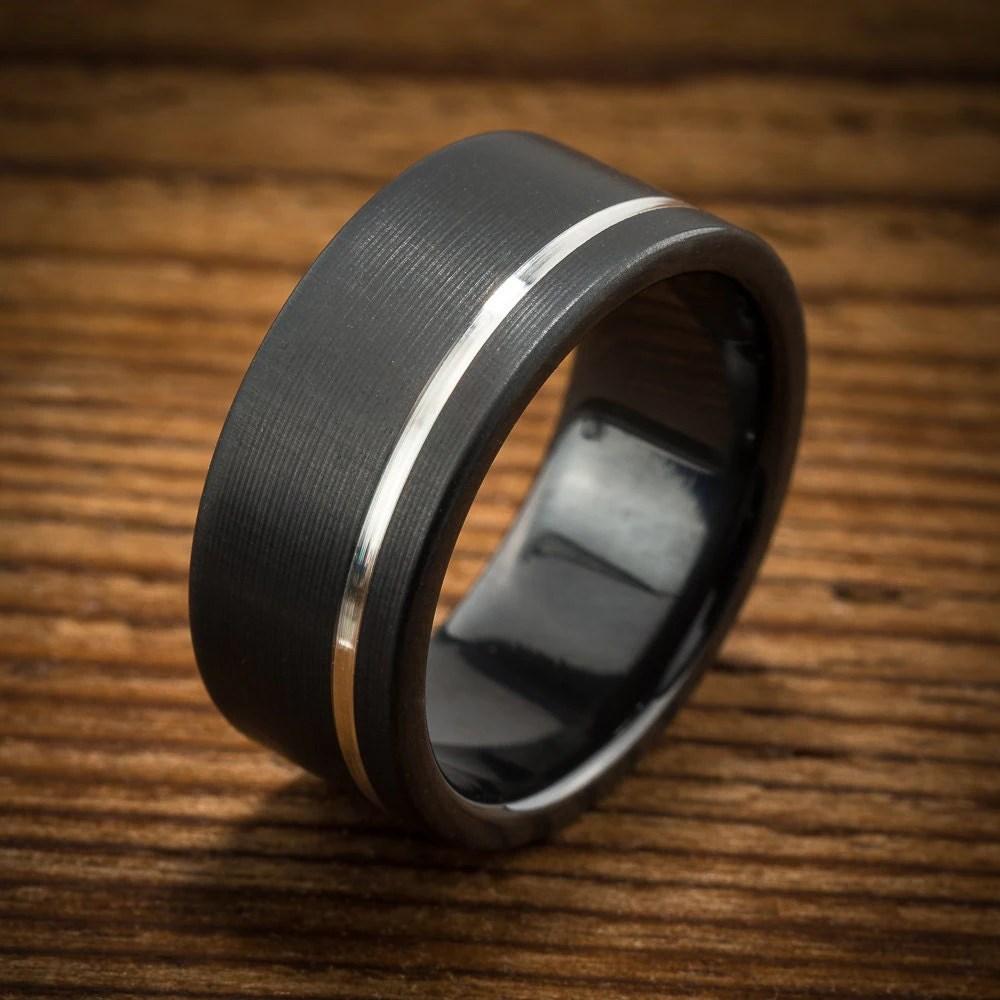 black zirconium ring mens black wedding rings Men s Wedding Band Comfort Fit Interior Black Zirconium Silver Stripe Ring