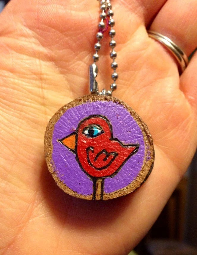 Hand painted bird pendant on an 18 inch ball chain