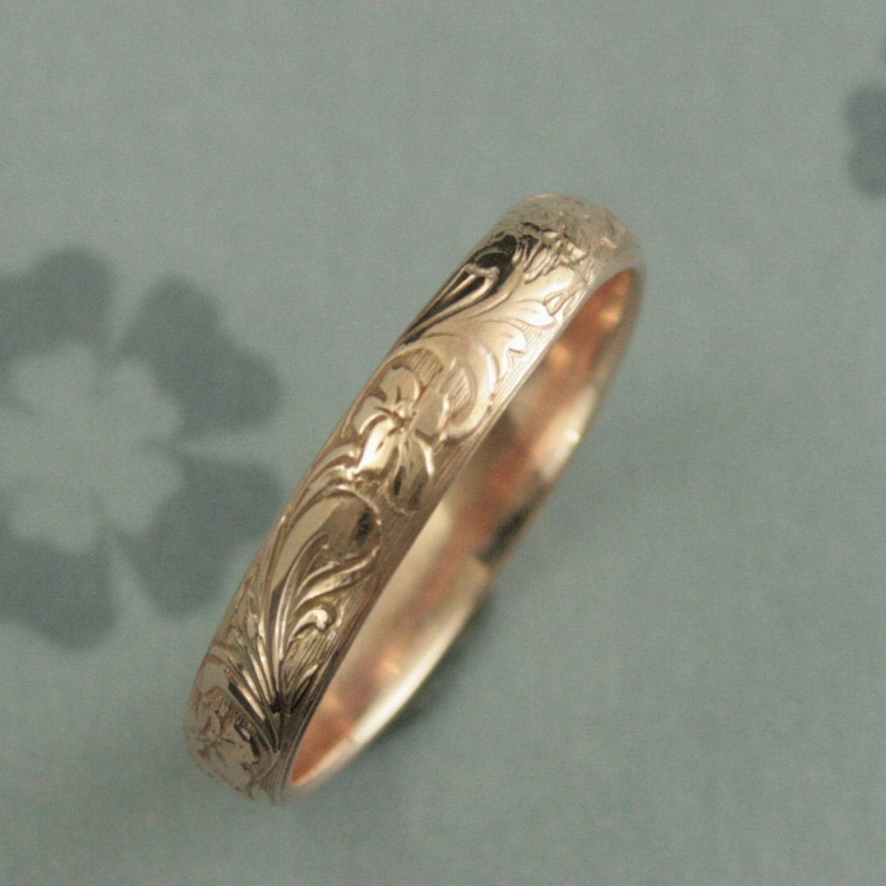 orange blossom ring vintage wedding band Rose Gold Wedding Band Solid 14K Rose Gold Neoclassic Band Floral Patterned Band Antique Style Band Vintage Style Band Flower Ring