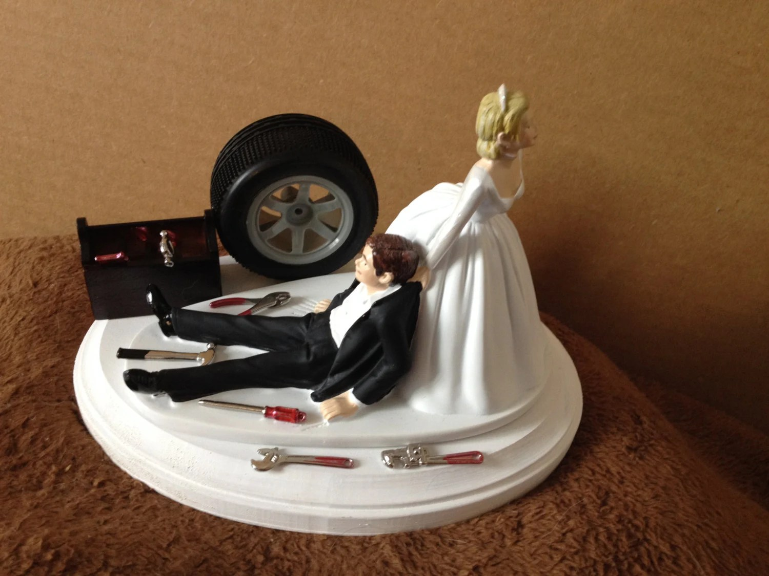 mechanics tool mechanic wedding ring Cake Topper Wedding Day Bride Groom Funny Auto Mechanic Grease Monkey Themed Automotive Garage Shop Tools Hair color changed for free