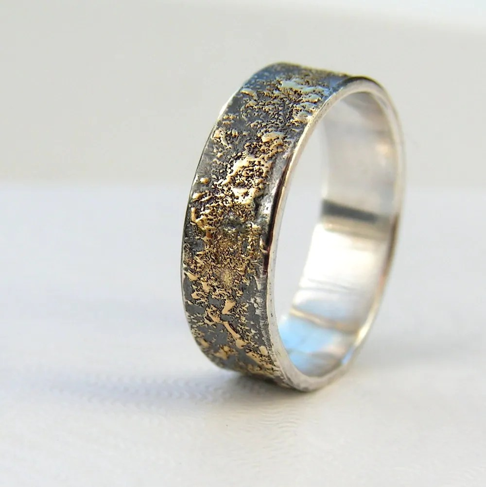 gold chaos rustic mens wedding ring in mens wedding rings zoom