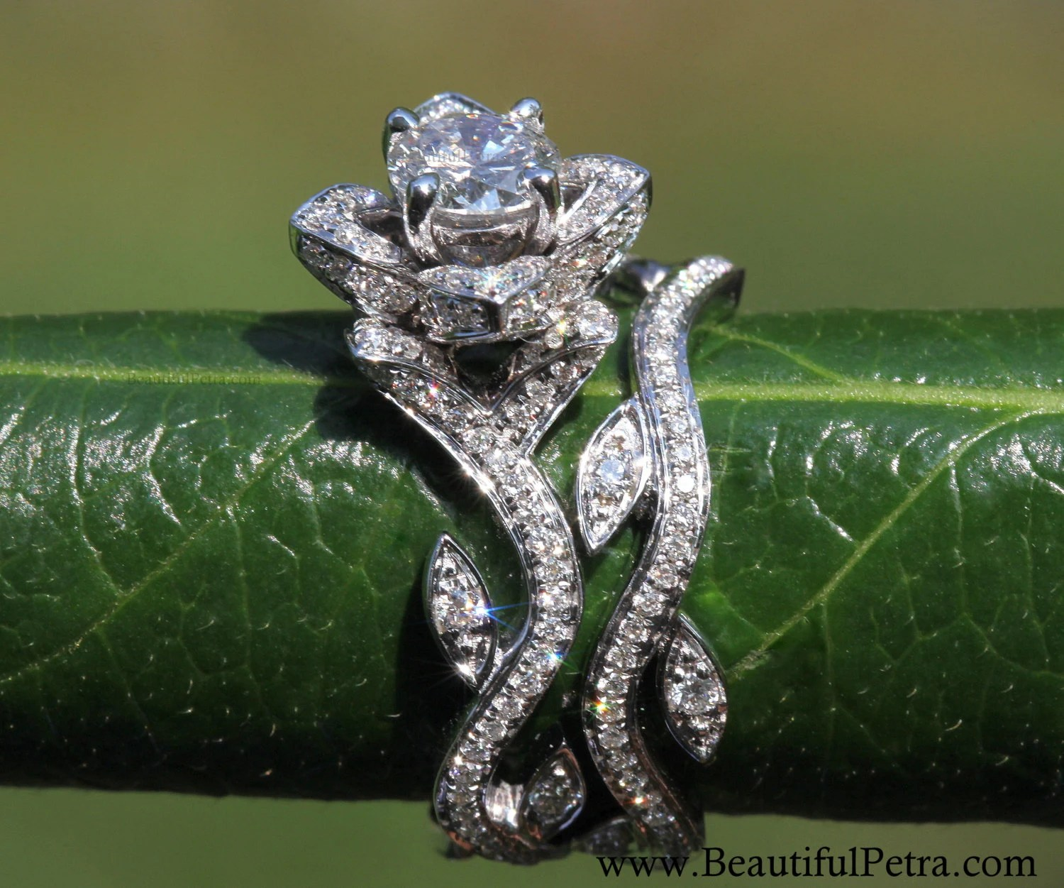 blooming work of art 14k flower leaf lotus flower wedding ring Rose Lotus Diamond Engagement Wedding Ring Set zoom