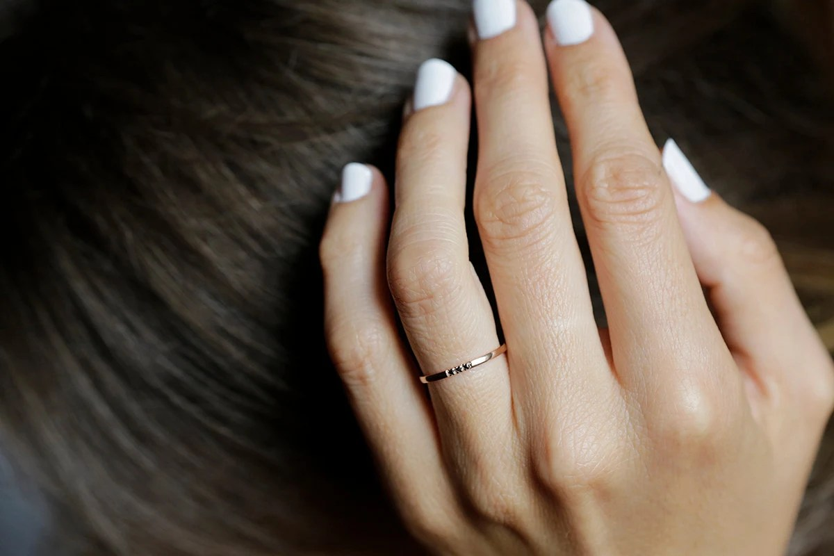 thin diamond band delicate wedding bands Rose Gold Diamond Band Dainty Wedding Ring Rose Gold Wedding Band Black Diamond ring 14k Solid gold