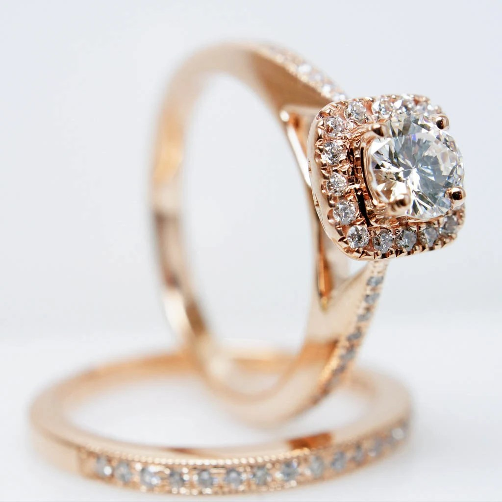 14k rose gold solitaire square halo square diamond wedding rings Square Halo Diamond Engagement Ring with Matching Wedding Band Rose Gold Set zoom