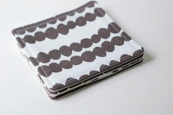 Fabric Coasters Set of 4 / White and Warm Grey / Lotta Jansdotter Fabric