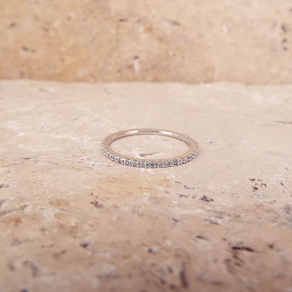 micro pave band micro pave wedding band 1 mm White Gold High Quality Eternity Ring CZ Diamond Ring Stacking Eternity Ring Rhodium Full Eternity Micro Pave Ultra thin Wedding Band