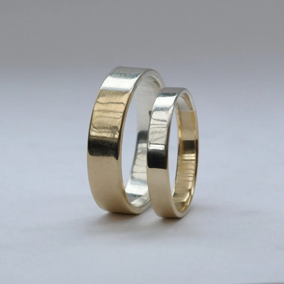 geek wedding ring police wedding rings Golden Ratio Wedding Rings Set Matching Wedding Bands His and Hers in 9k Gold and Sterling Silver