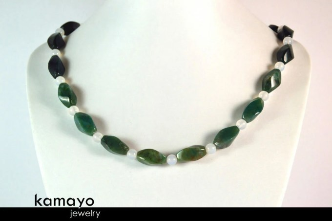 MOSS AGATE NECKLACE - Gre...