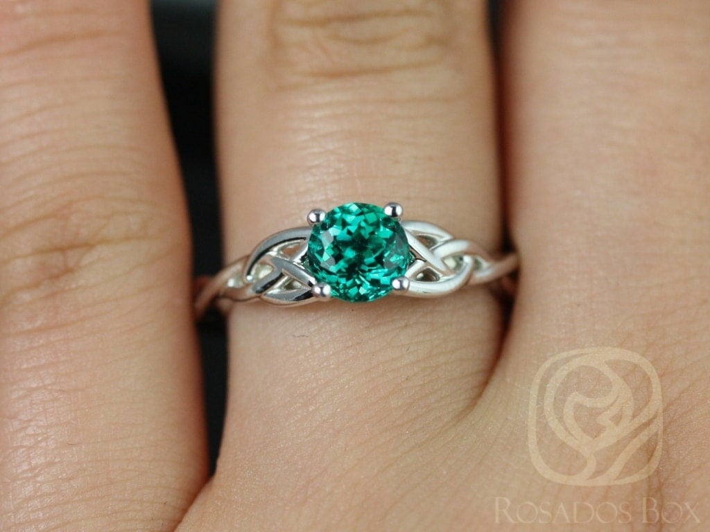 celtic wedding band viking wedding bands Cassidy 6mm 14kt White Gold Round Emerald Celtic Knot Engagement Ring Other Metals and Stone Options Available