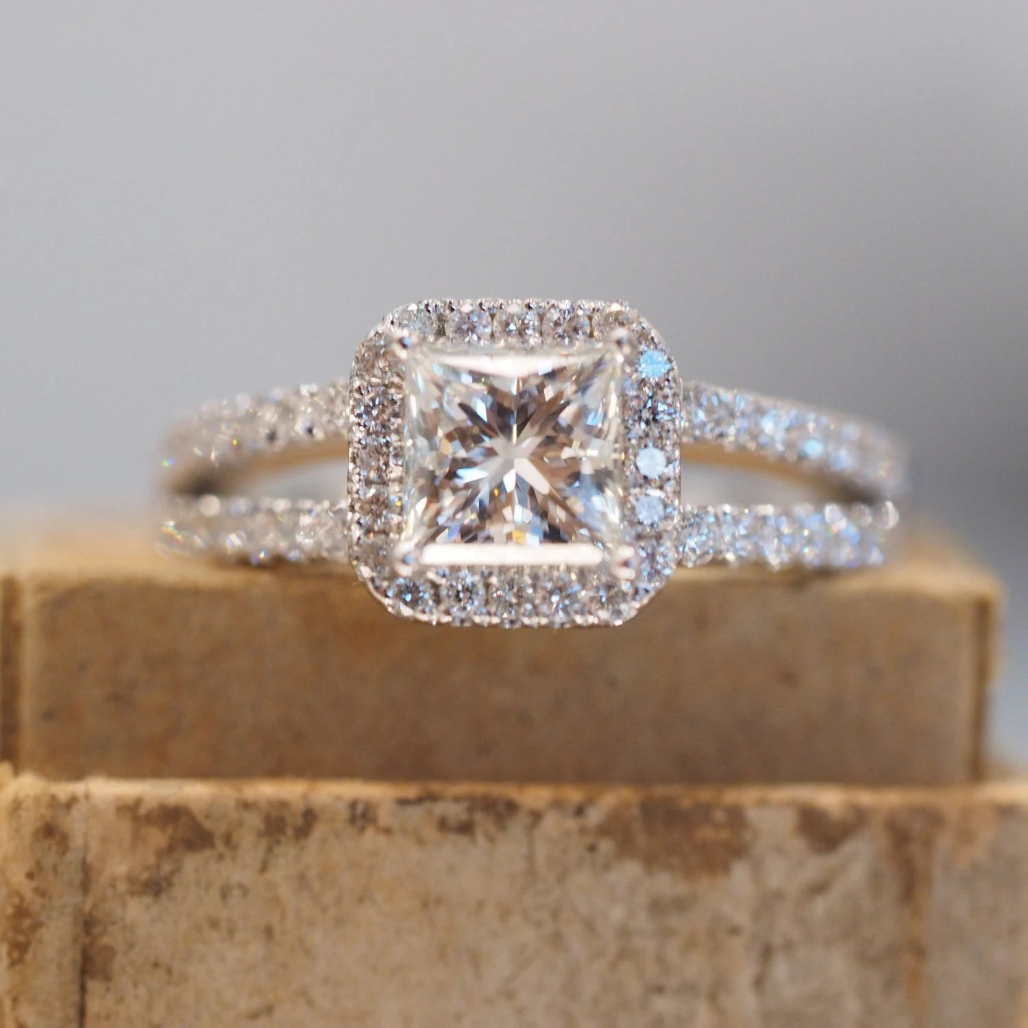 micro pave band micro pave wedding band Halo Princess Cut Engagement Ring with Split Shank Band in White Gold With Diamonds Micropave 18k White Gold