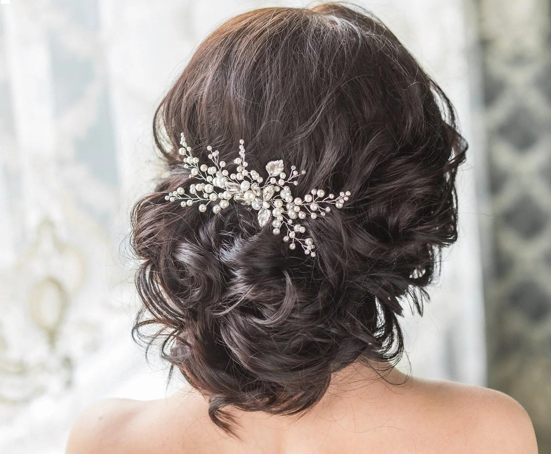 emerald hair comb wedding hair combs Bridal Hair Comb with Swarovski Pearls Bridal Headpiece Bridal Hair Piece Leaf Hair Comb