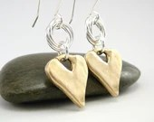 Soft spring sunshine: Gold Heart Earrings, Valentine Earrings, Mixed Metal Earrings, Gold Hearts, Valentine Gift, Gold and Silver Earring, Rustic Gold Earrings