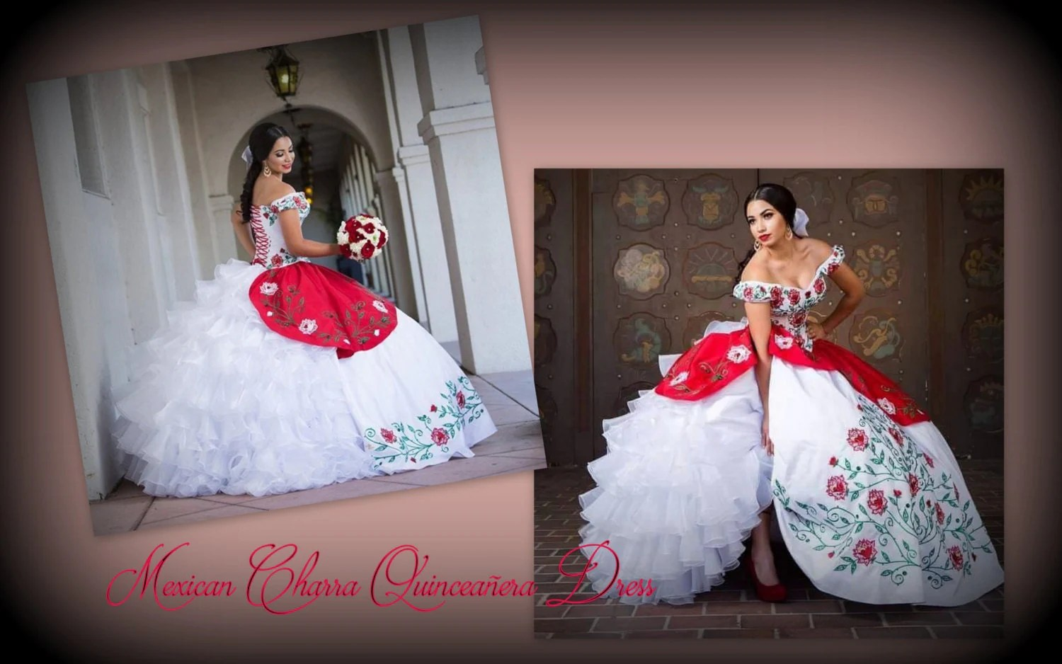 mexican wedding dress peasant style wedding dress Charra Inspired Quincea era Luxurious Bow Multilayered Mexican Quinceanera Dress Quince Dress Vestido Mexicano
