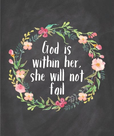Items similar to God Is Within Her She Will Not Fail Printable Instant Download Chalkboard Wall ...