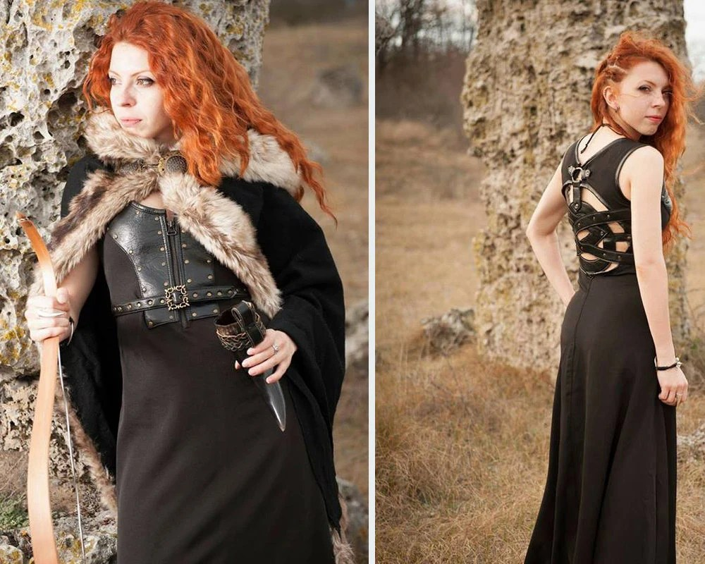 viking dress viking wedding dress Celtic dress Viking costume Viking dress and mantle with fur Medieval clothing Game of Thrones inspired costume