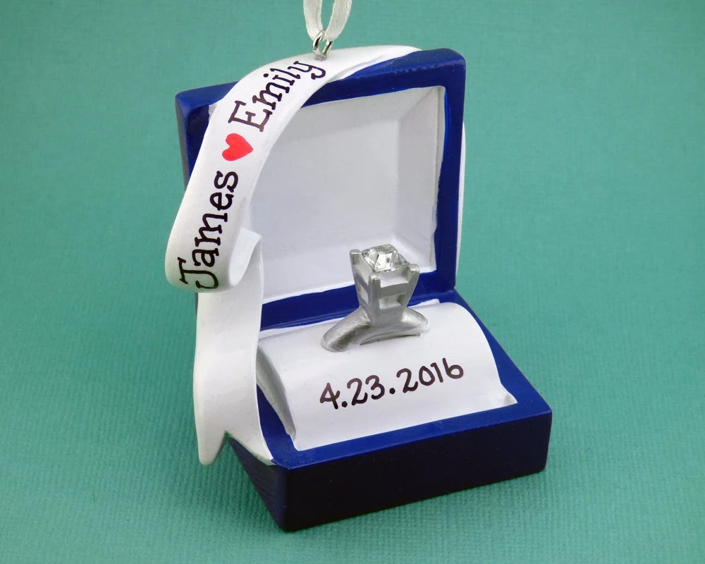 lesbian wedding ring lesbian wedding bands SHIPS FREE Engagement Ring Personalized Ornament Ring Box She Said Yes Will You Marry Me Hand Personalized Christmas Ornament