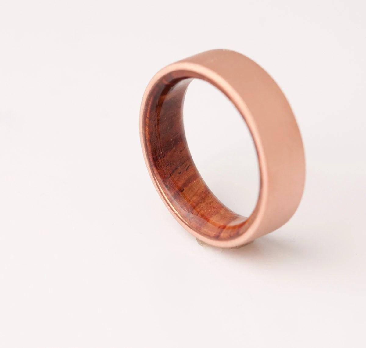 mens wedding ring sports wedding bands Copper Wedding Band Copper Wood Ring Cocobolo Ring Man Ring mens wood wedding band