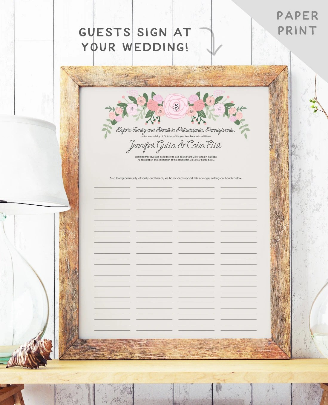marriage certificate wedding certificate Rustic Quaker Marriage Certificate Wedding Guest Book Alternative Marriage Contract Rustic Guest Book The Bailey Set PAPER