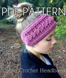 Cable Crochet PDF PATTERN for Headband headwrap earwarmer and flower