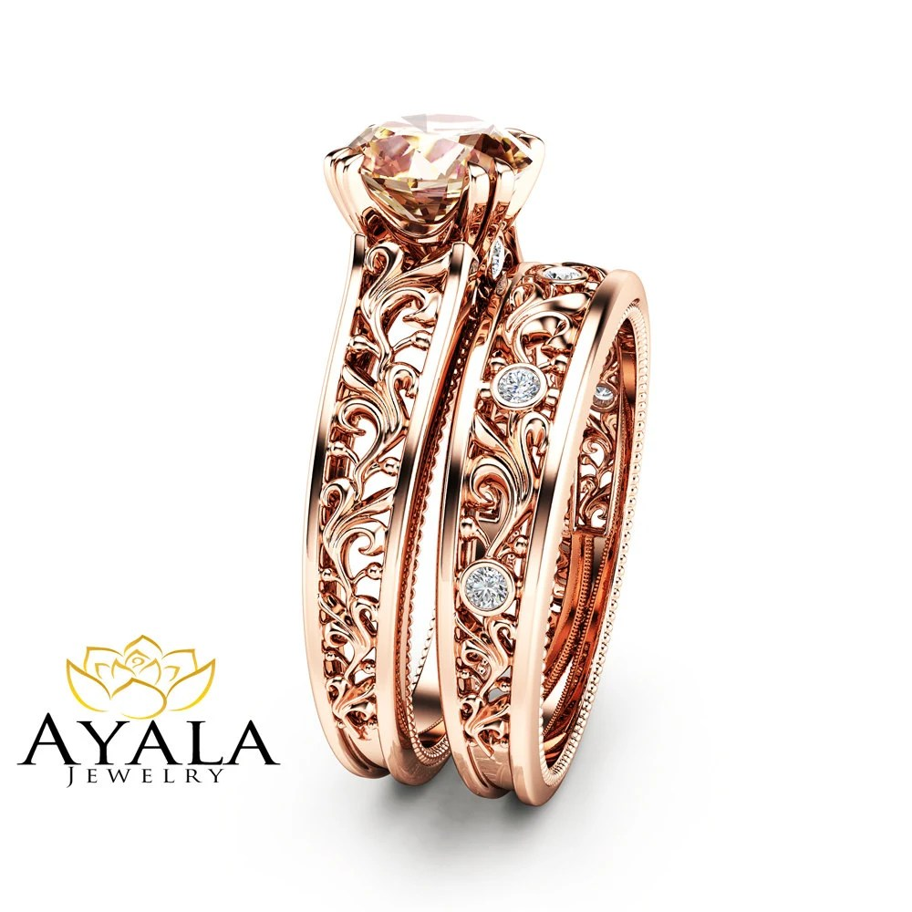 morganite bridal set bridal wedding ring sets Peach Pink Morganite Bridal Set 14K Rose Gold Morganite Engagement Rings Art Deco Styled Bridal Ring Set Filigree Rose Gold Rings