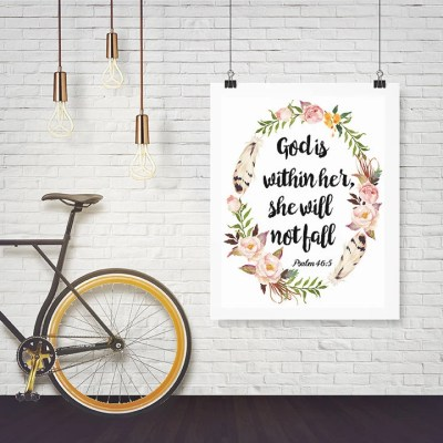 Psalm 46:5 Printable wall decor Bible verses by YourPrettyPrints