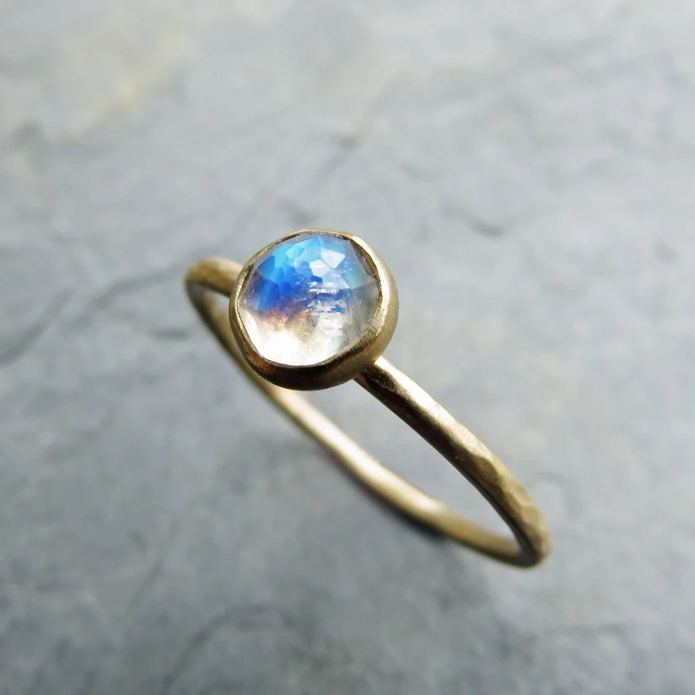 14k gold moonstone engagement ring round moonstone wedding ring sets zoom