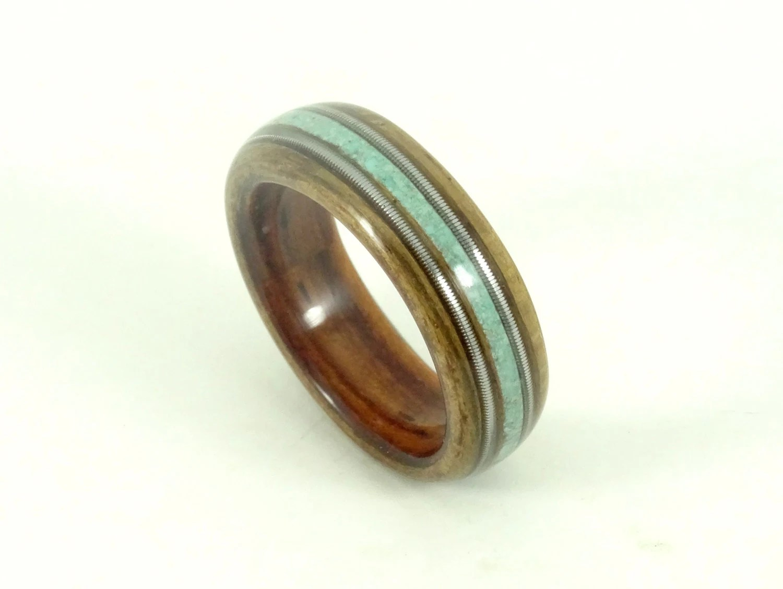 turquoise engagement ring navajo wedding rings Wood Rings Wooden Rings Mens Wood Rings Wooden Wedding Rings Bent wood Rings Musician Gift Kingwood Olive Turquoise Guitar Strings