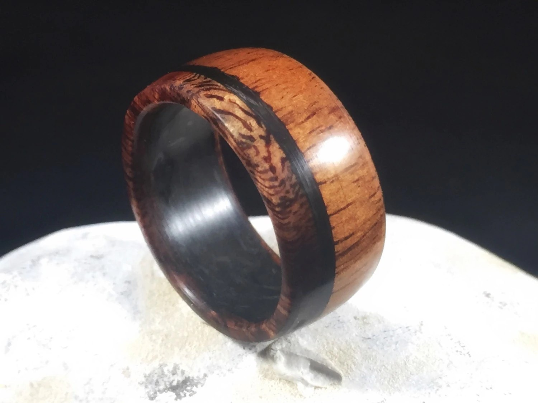 carbon fiber rings carbon fiber wedding bands Koa with carbon fiber mens wedding band wood ring wood wedding band wooden ring mens wood wedding band koa wood ring wood wedding