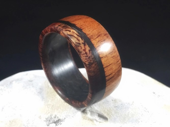 hawaiian ring mens wedding rings wood Koa with carbon fiber mens wedding band wood ring wood wedding band wooden ring mens wood wedding band koa wood ring wood wedding