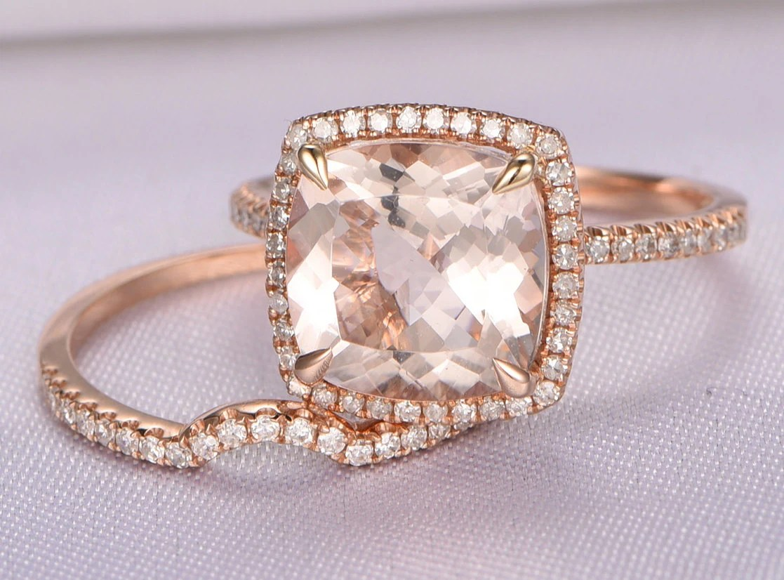 curved wedding band contour diamond wedding band Morganite Engagement Ring Set 14k Rose gold morganite ring mm Cushion Cut Pink Stone Curved Diamond Wedding Band Bridal Set Wedding Ring