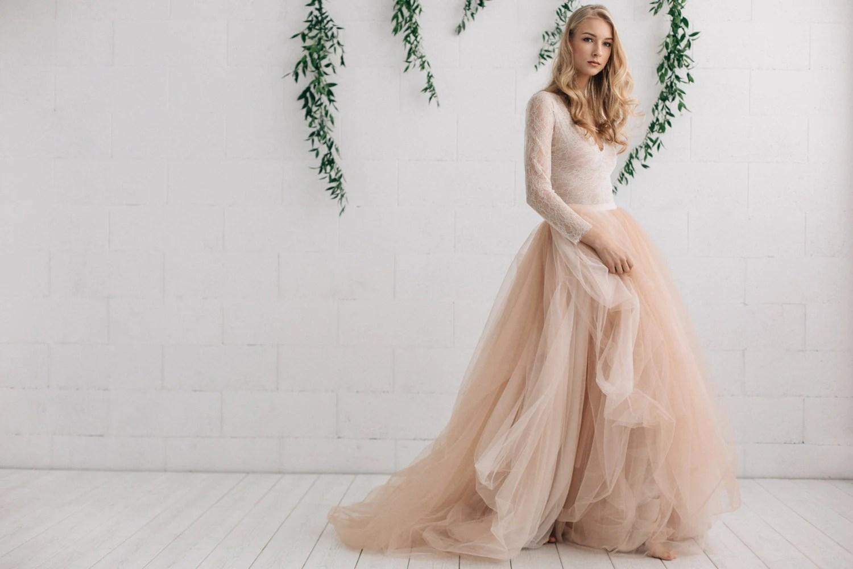 boho wedding dress boho wedding dresses Wedding Dress Nude Champagne Peach Ivory Bridal Dress Two Piece Dress Long Sleeves Dress Melanie