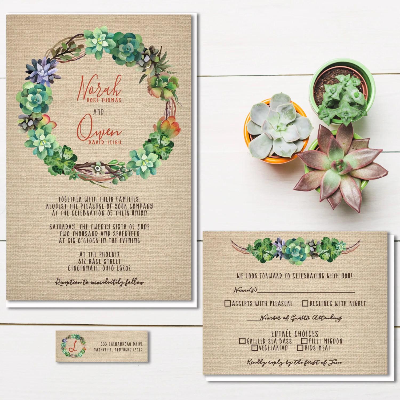 succulent invitation wedding invitations Succulent Wedding Invitations Rustic Burlap Wedding Invitation Cactus Invite Set Southwestern Wedding Budget Wedding Stationery