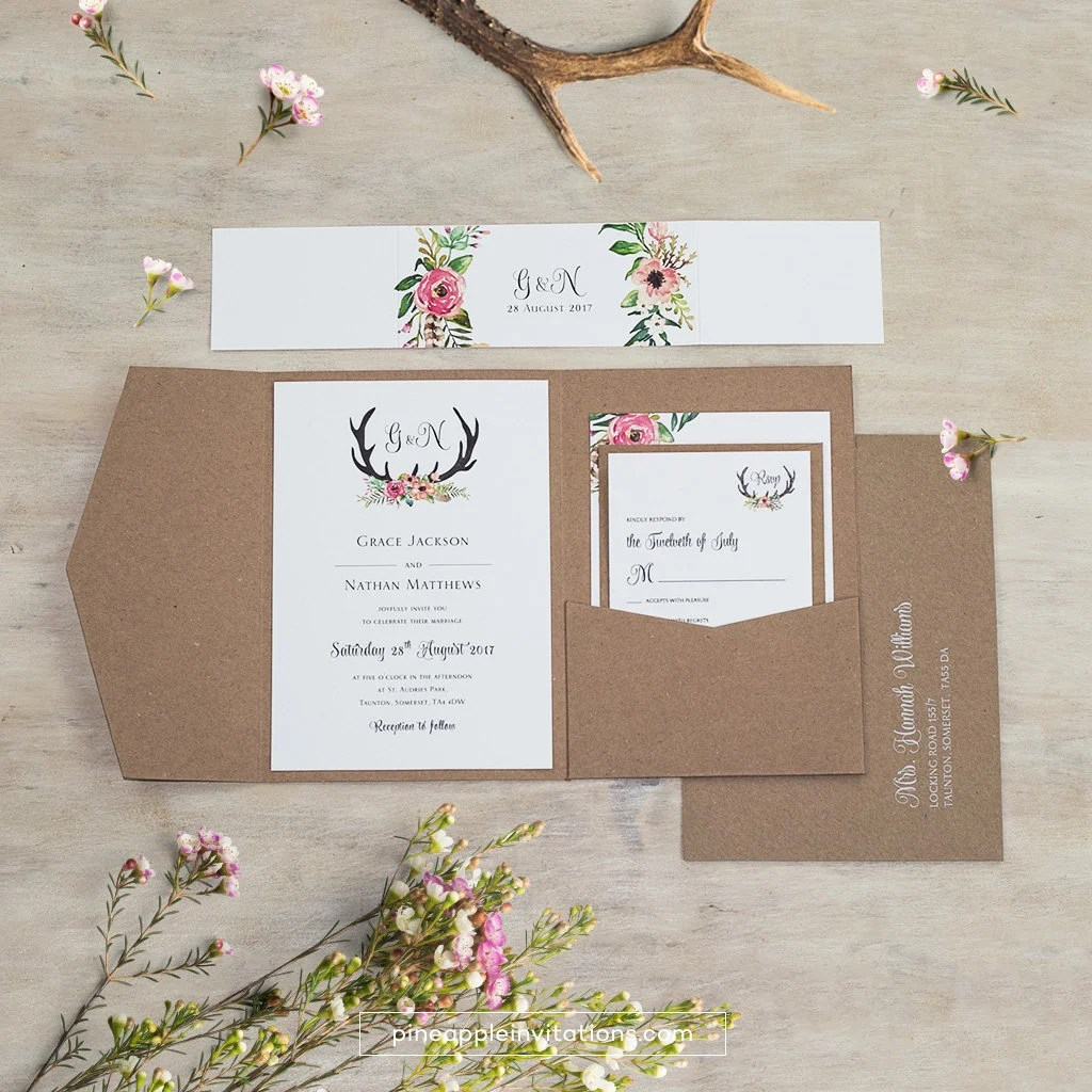 pocket invitations wedding invitations Eco Kraft Pocketfold Floral Antler I Wedding Invitation Pocketfold Invites Sample Pack or Deposit Wedding Invitations by Pineapple