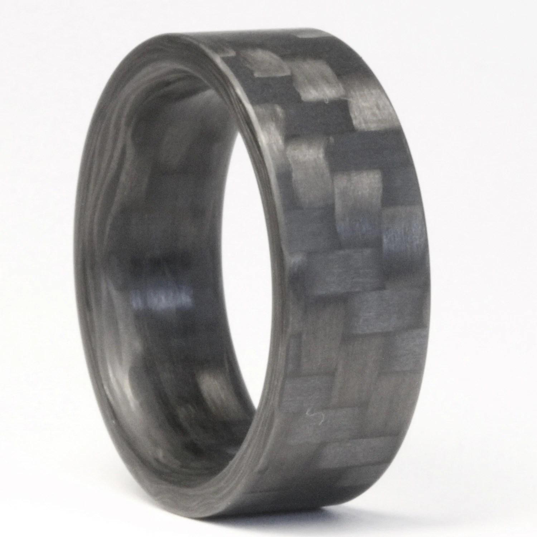 twill carbon fiber ring mens engagement carbon fiber wedding ring zoom