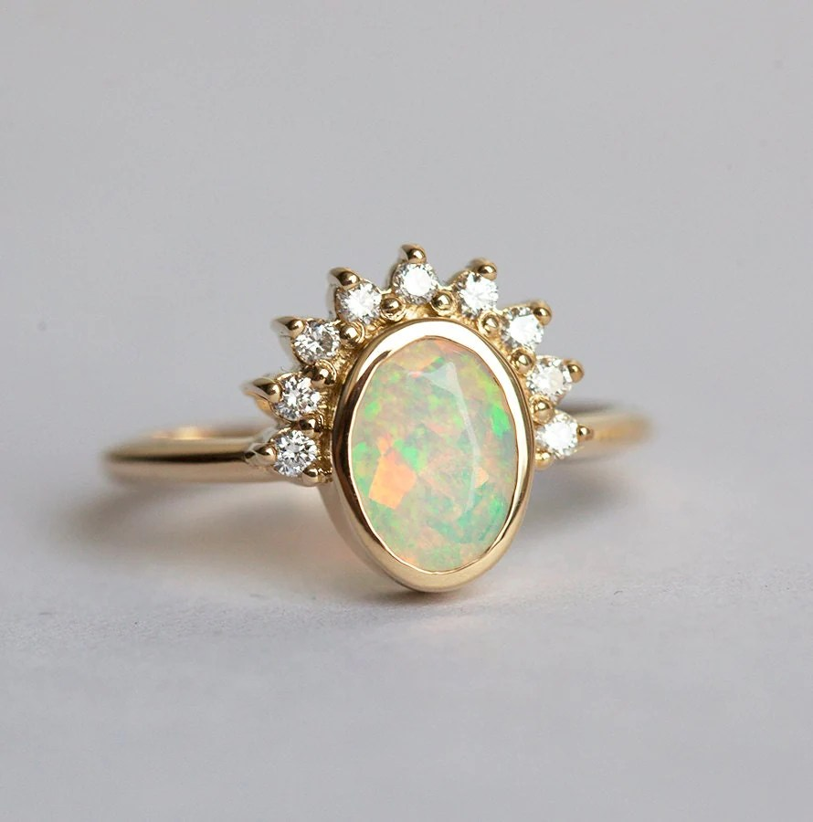 opal engagement ring opal wedding rings Oval Opal Engagement Ring Opal and Diamonds ring Diamond Opal Ring Welo Opal Ring Ethiopian Opal Ring Gold Opal Diamond Ring