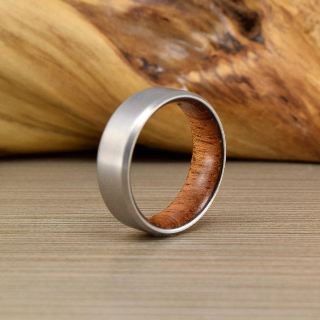 wood engagement ring wedding rings Titanium Brazilian Cherry ring Men s Wedding Ring Womans Wedding Ring Women s Ring Men s Ring Men s Wedding Band