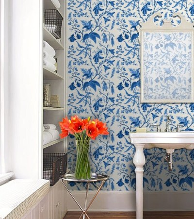 Chinoise / Blue Repositionable Peel 'n Stick Wallpaper
